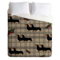 Natt Gray Tartan And Dachshund Duvet Cover