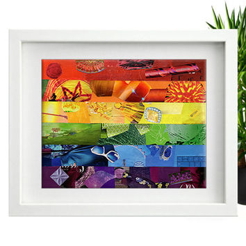 Rainbow pride, Gay flag art, Gay pride, Gay art, LGBT, Mixed media collage art, Bohemian art, Rainbow art, Living room art, wall art