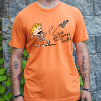 Calvin as Wash - I'm a Leaf on the Wind unisex Calvin and Hobbes / Firefly mashup t-shirt in burnt orange for men or women