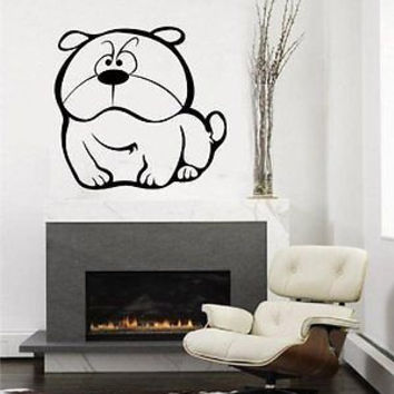 Cute Little Bulldog Dog Puppy Nursery Room Decor Wall Art Sticker Decal D-93