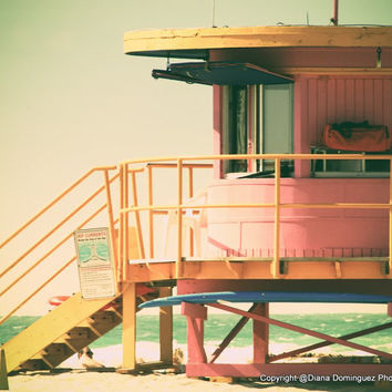 "Lifeguard Stand Photography  - Miami Beach Photography - ""Pink LifeGuard"" - Pastel Colors - Cottage Decor, Shabby Chic"