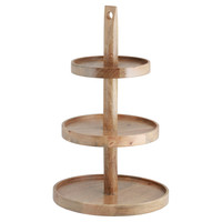 Mango Wood 3-Tiered Pastry Tray, Serving Trays