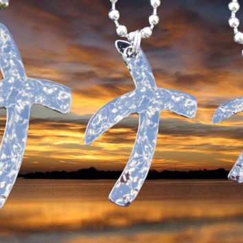 Silver Hand Hammered Cross Crossed Roads Necklace Pendant 3 Sizes Womens Mens Boys Girls Christian Jewelry - Saint Michaels Jewelry