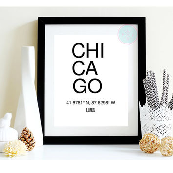 "Printable Art, ""Chicago"", City Coordinates, Typography Wall Decor, Instant Printable, Office Decor"