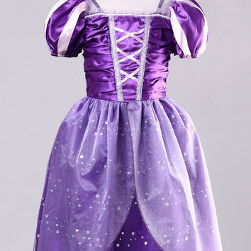 Children Baby Dress Toddler Kids Girls Cartoon Princess Purple Tulle Dress Party Fancy Chrismas Ball Dress