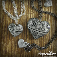 Death Star Inspired Heart Necklace - 2 sizes available