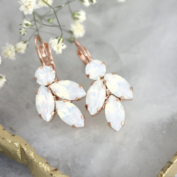 Opal Earrings, Bridal Opal Earrings, Bridal Opal Drop Earrings, White Crystal Opal Swarovski Earrings, Bridesmaids Earrings, Opal Droplets
