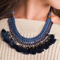 Lost Out Here Tassel Detail Choker (Blue)