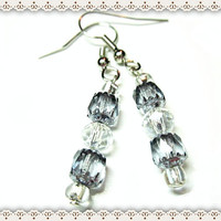 Smoky Black Opaque Women's Beaded Earrings~Opaque Facet Bead Earring~Silver End Caps~On Hooks