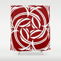 Negative Red Iristocrat Shower Curtain by Fringeman Abstracts