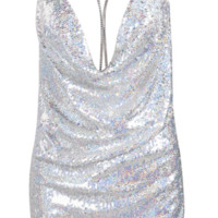 'Rourke' Sequined Mini Dress - Silver