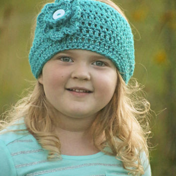 Crochet Ear Warmer - Crochet Head band - Crochet Flower - Ear Warmer - Teal Ear Warmer, Crochet Sparkle ear warmer - Sparkle - Flower - Band