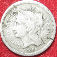 Three Cent Coin, 1866 USA Nickel three, Collectible Coin, III Cent Coin, Nickel Coin, Vintage Coin, Old Coin, US Liberty Head 3 Cent Coin
