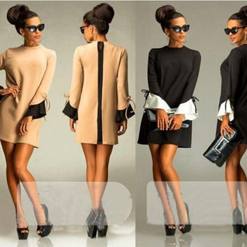 Round Neck Long-Sleeved Jumpsuit Skirt