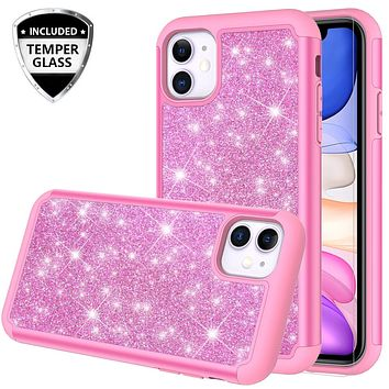 Apple iPhone 11 Case, Glitter Bling Heavy Duty Shock Proof Hybrid Case with [HD Screen Protector] Dual Layer Protective Phone Case Cover for Apple iPhone 11 - Hot Pink