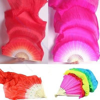 Hand Made Colorful Belly Dance Dancing Silk Bamboo Long Fans Veils 1.8m LS