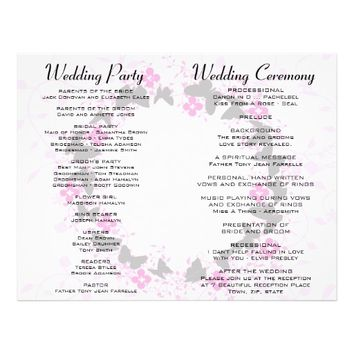 "Grey Pink Purple Bouquet Ring Wedding Program 8.5"" X 11"" Flyer"