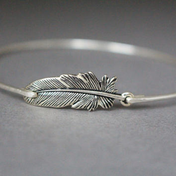 Silver Feather Bangle Bracelet, Feather Bracelet, Silver Bracelet, Silver Bangle, Native American, Silver Bangle Bracelet, Feather Jewelry
