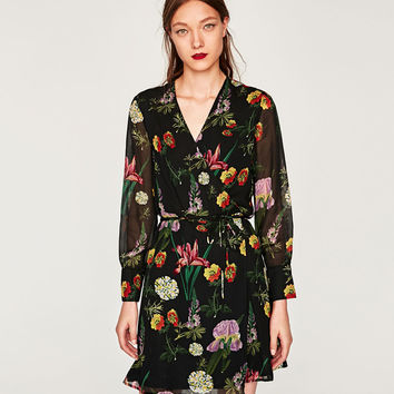 PRINTED MINI WRAP DRESS