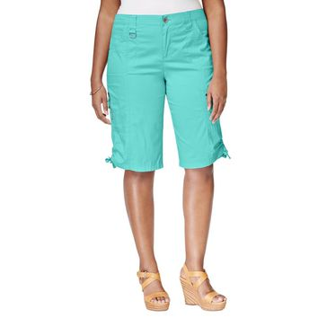 Style & Co. Womens Plus Ruched Hem Cargo Bermuda Shorts