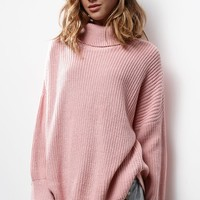 Honey Punch Ribbed Turtleneck Pullover Sweater - Womens Sweater - Red