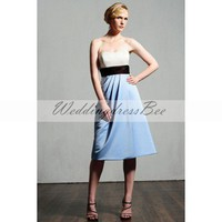 Strapless satin bridesmaid dress