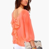 Waldorf Bow Blouse - Neon Coral