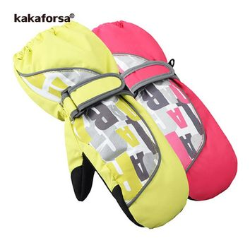 Kakaforsa Children Girls Boys Ski Gloves Winter Warm Snow Glove Outdoor Waterproof Windproof Snowboard Skiing Gloves for Kids