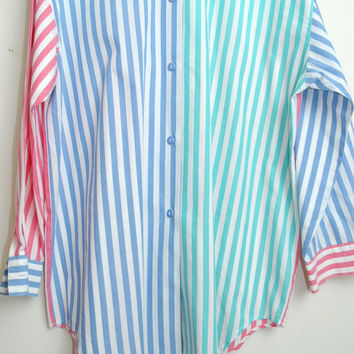Vintage David Brooks 80s/90s Pastel Color Blocked Striped Long Sleeve Button Up Over Sized Blouse Shirt Unisex