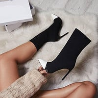 Pointed Toe Fashion Elastic Half Boots High Heels Shoes