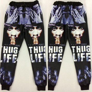 2016 New Fashion 3D Emoji Tupac Printed Joggers Womens Cartoon Harem Pants Trousers Casual Mens Sports Sweatpants [9305643271]