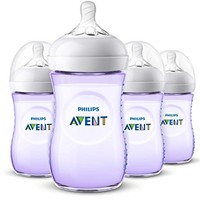 Philips Avent Natural 4 Piece SCF013/43 Baby Bottle, Purple