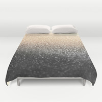 *** GATSBY BLACK GOLD *** ombre glitter Duvet Cover by Monika Strigel | Society6
