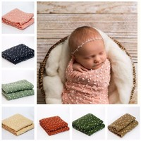Puseky Fashion Soft Newborn Swaddle Wrap With Dot Outfits Newborn Photography Props For Newborn Knitted Garments Infant Clothes