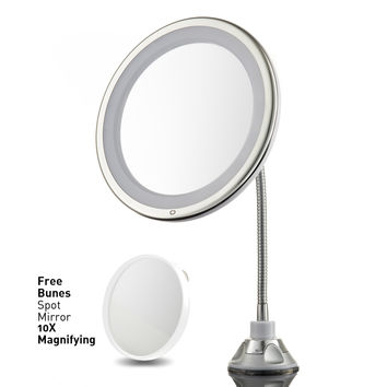 """Lighted Makeup Mirror 10"""" Long Gooseneck Mirror with Warm LED Light, Best Wireless, Battery Operated, Adjustable, Bathroom Vanity Dresser Mirror, FREE 10X Magnifying Spot Mirror, Compact Travel Mirror"""