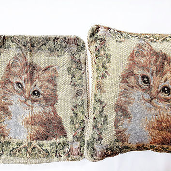 pillow cases kittens, pillow cases, vintage pillows, vintage decoration, two almoadas, christmas gift, decoration cats,