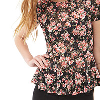 FOREVER 21 Floral Lace Peplum Top Black/Pink
