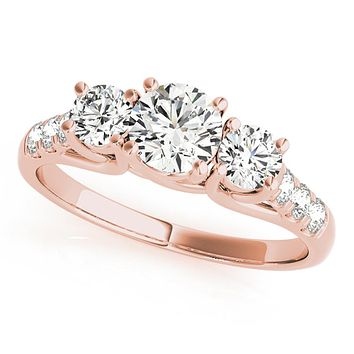 14k Rose Gold Three-Stone Engagement Ring (0.25 carat, I-J Color, I2-I3 Clarity)
