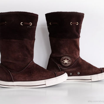 Brown suede Converse boots with soft fleece cuffs, calf high leather Converse, vintage boots. Size eu 41 (UK 7.5, US Wo's 9.5, US Mens 7.5)