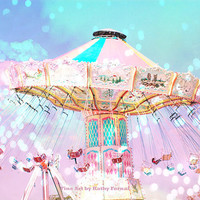 "Carnival Ferris Wheel Photos, Pink Teal Aqua Baby Nursery Child Carnival Photos, Dreamy Child Baby Room Decor, Ferris Wheel Photo 8"" x 12"""