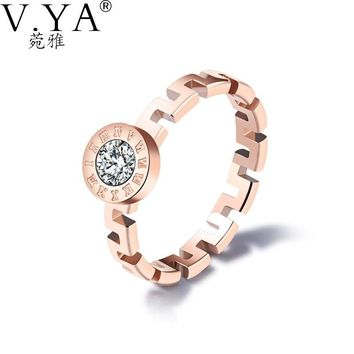 V.YA Fashion Rome Number & the Great Wall Crystal Rings 2017 Interchangeable Gold-Color Stainless Steel Rings For Women Dropship