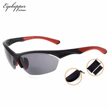 SG902Eyekepper TR90 Sports Bifocal Sunglasses Baseball Running Fishing Driving Golf Softball Hiking Half-Rimless Reading Glasses