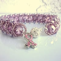 light pink beaded glam bling bracelet, pink ribbon bracelet, breast cancer awareness pink bracelet, pink bracelet