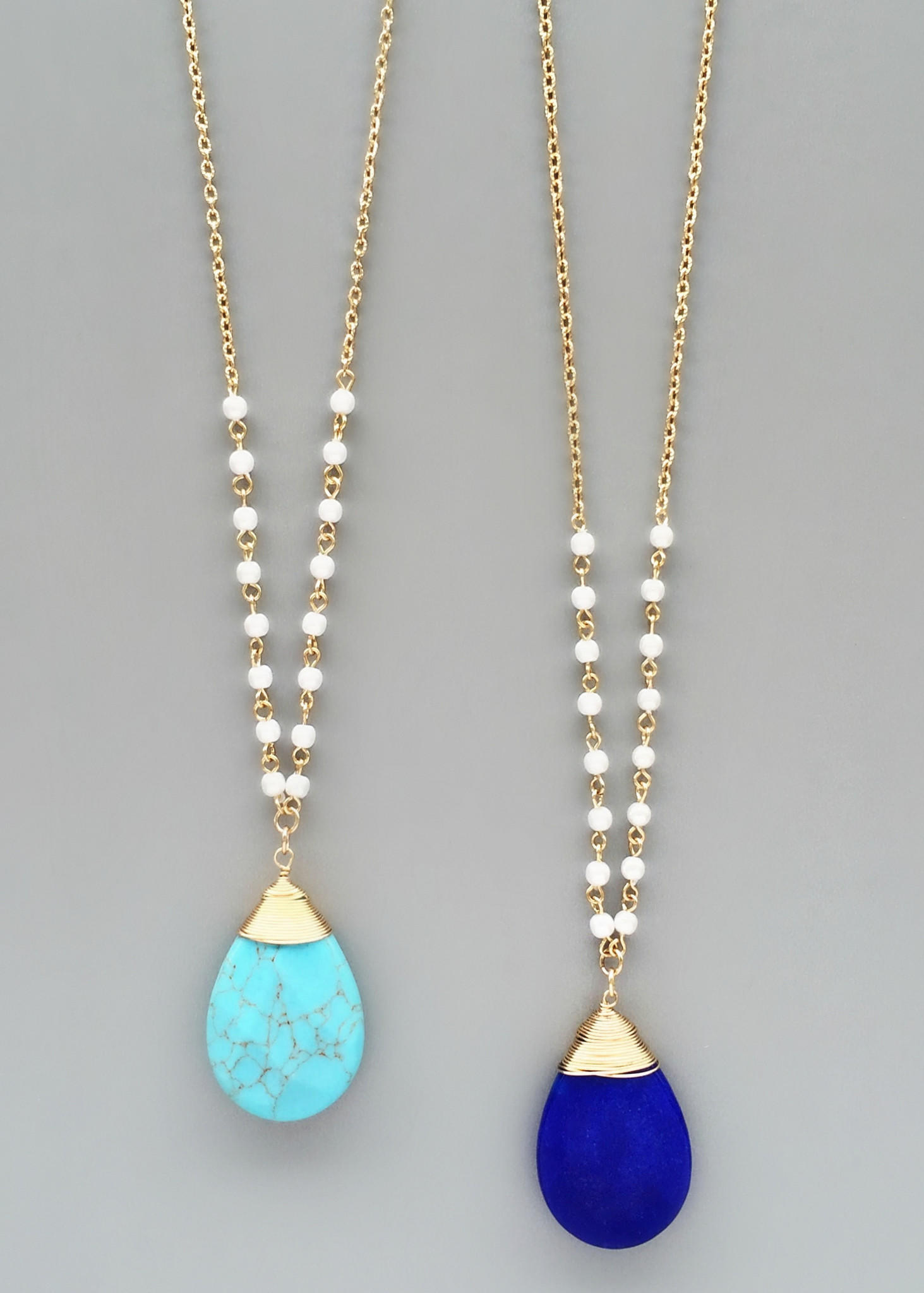 Pearl stone necklaces turquoise or from pree brulee for Who sells lizzy james jewelry