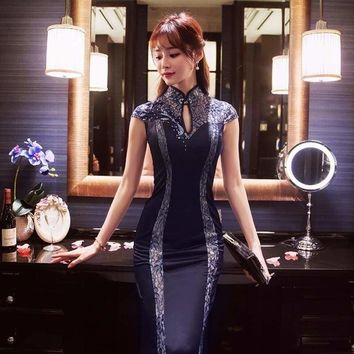 Formal Traditional Chinese Oriental Party Dresses Sexy Vintage Cheongsam Wedding Gown Dress