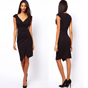 Irregular V Neck Cocktail Knee-length Dress Black