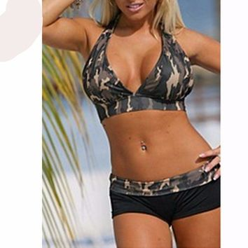 Army Green Camouflage Boxer Shorts Bikini Swimsuit  Plus Size BathingSuit