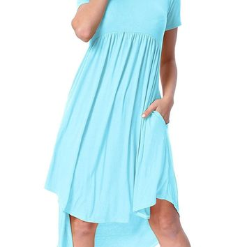 Light Blue Short Sleeve High Low Dress