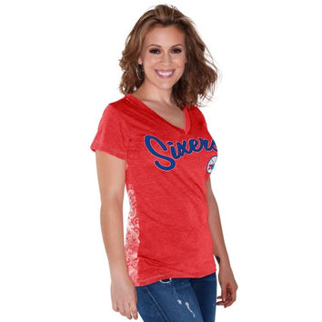 Philadelphia 76ers Touch by Alyssa Milano Women's Audrey V-Neck T-Shirt – Red