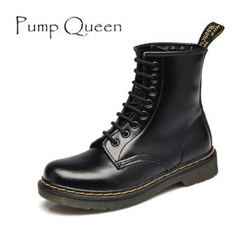 Women Ankle Boots Shoes Woman 2017 Spring Fall Genuine Leather Lace Up Land Shoes Punk